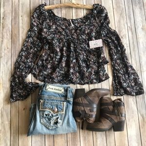 NWT FREE PEOPLE $118 floral top shirt blouse